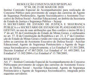 Documento que instituiu a comissão do concurso Polícia Penal