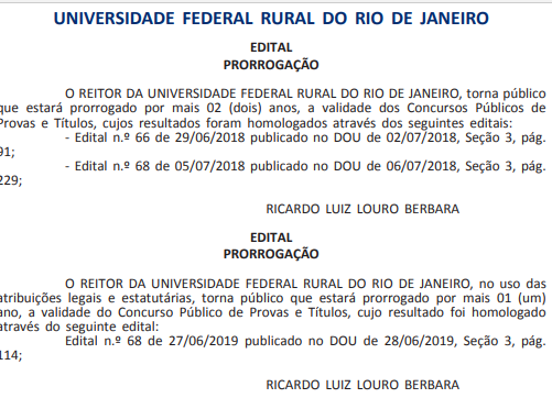 Documento que revela a prorrogação dos prazos de validade do concurso UFRRJ