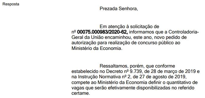 Resposta encaminhada pela CGU em junho via e-SIC