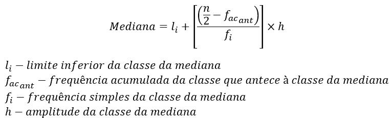 Fórmula para o cálculo da mediana