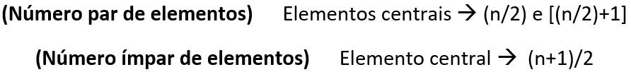 Fórmula para encontrar os elementos centrais para determinar a mediana