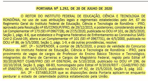 Suspensão IFMG e IFRO