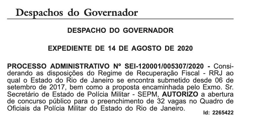 Despacho do governador autorizando novo concurso PMERJ
