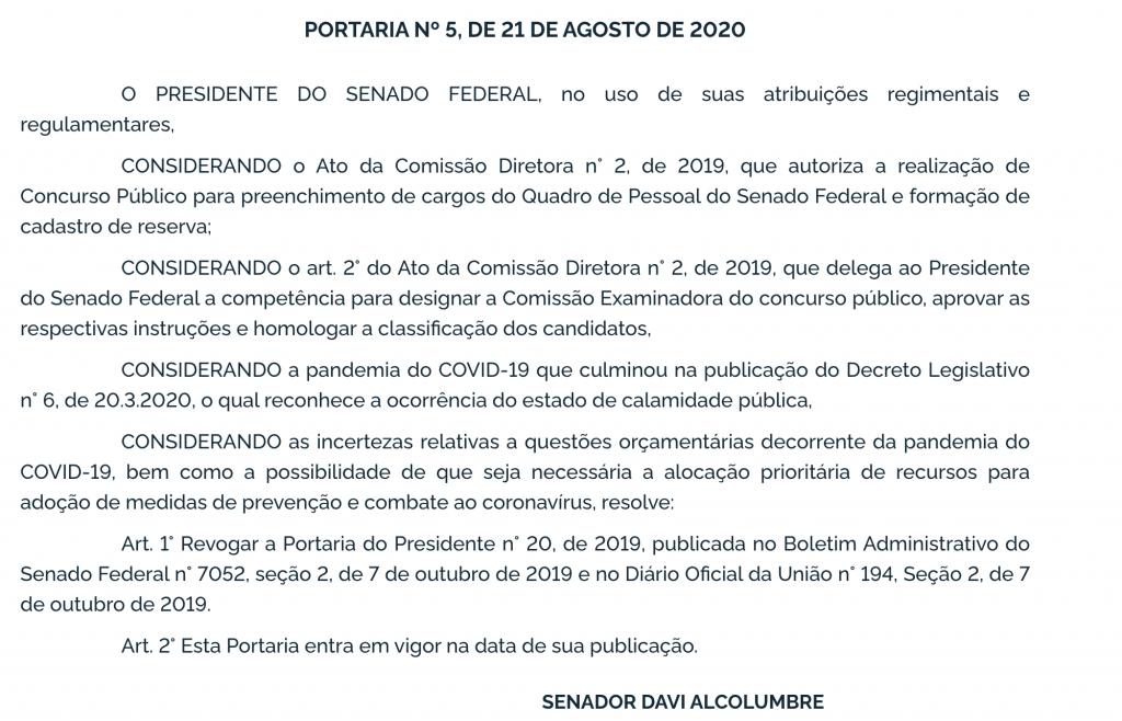 Portaria de revogação da comissão organizadora do Concurso Senado Federal