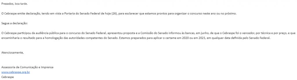 Nota do Cebraspe confirmando ser a banca para o concurso Senado Federal