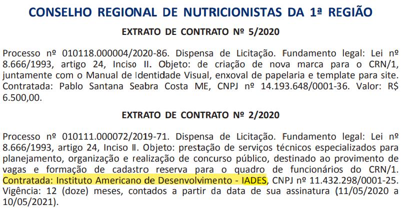 CRN 1: contrato com a banca IADES