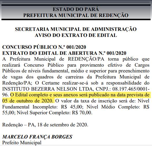 Extrato de edital do concurso Prefeitura de Redenção