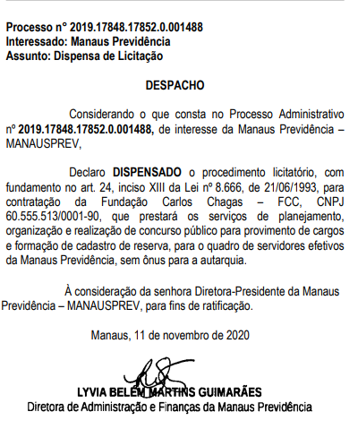 Despacho publicado no Diário Oficial - Banca organizadora do concurso Manausprev