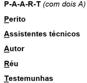 MNEMÔNICOS DE PROCESSO CIVIL acrósticos paart ordem preferencial para oitiva nas audiências