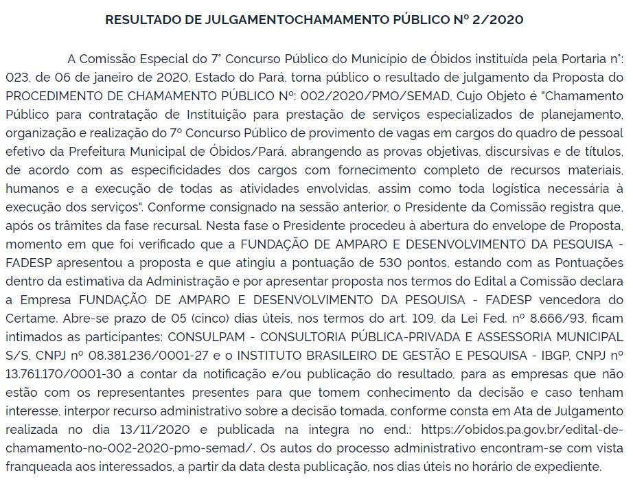 Resultado de julgamento do Chamamento Público do concurso Óbidos