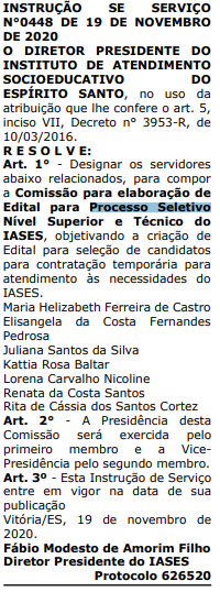 Comissão do concurso IASES ES