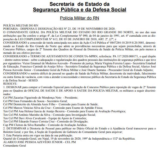 Anúncio da Secretaria de Segurança Pública sobre o concurso PM RN