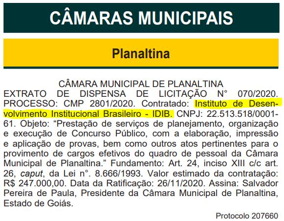 Documento que revelou a banca organizadora do concurso Câmara de Planaltina, de Goiás.