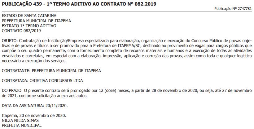 Contrato entre prefeitura de Itapema e Objetiva Concursos é prorrogado
