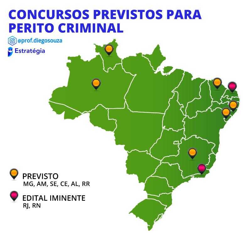 Mapa dos próximos concursos para perito criminal em 2021