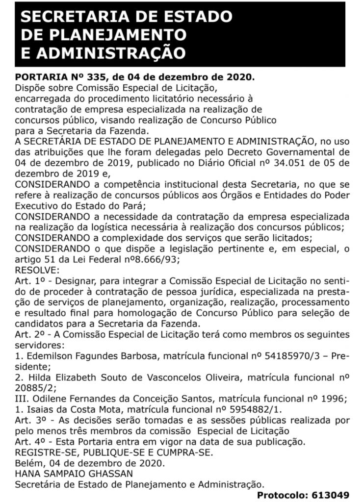 Comissão Especial de Licitação formada para escolha da banca do concurso Sefaz PA