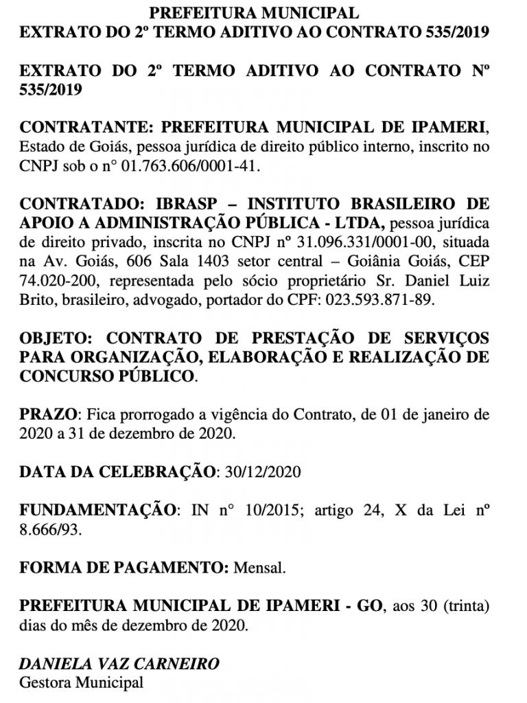 Prefeitura de Ipameri prorroga contrato com o IBRASP