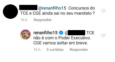 Resposta do Governador Renan Filho em seu Instagram pessoal: TCE não é com o poder executivo. CGE vamos soltar em breve