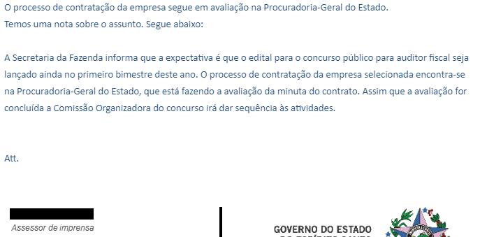 Nota enviada pela Assessoria de Imprensa da Sefaz ES dia 18/01/2021