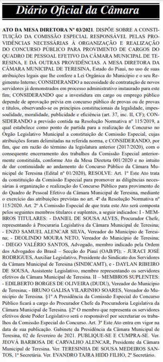 Comissão do concurso Câmara de Teresina