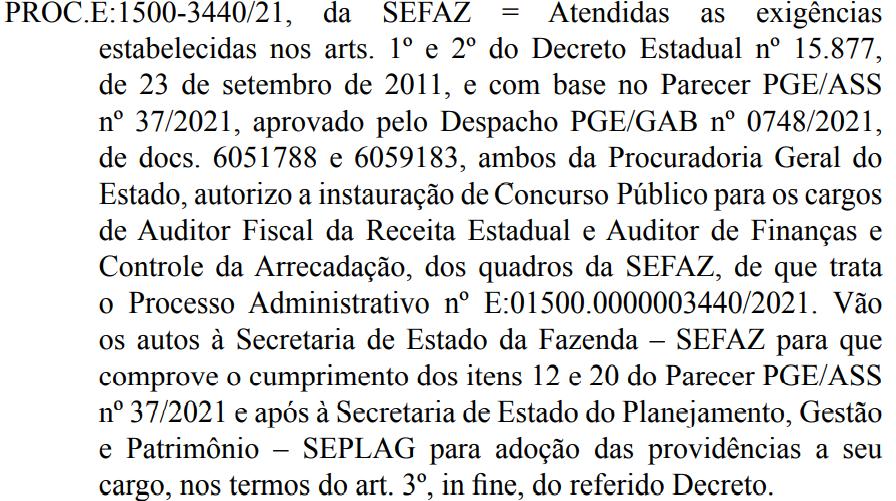 Autorização concurso Sefaz AL 2021