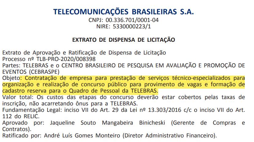 Concurso Telebras: Cebraspe contrato para organizar seleção
