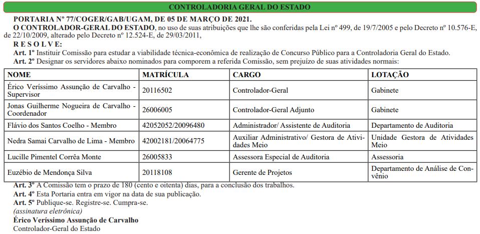 Comissão do concurso CGE RR