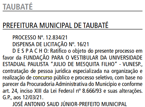 Empresa Vunesp definida como banca do concurso Prefeitura de Taubaté