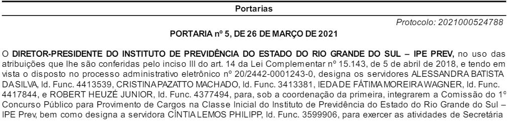 Comissão organizadora do concurso IPE PERV