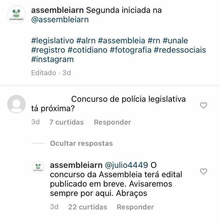 Troca de mensagens no Instagram informando que edital do concurso Assembleia Legislativa RN pode sair em breve.