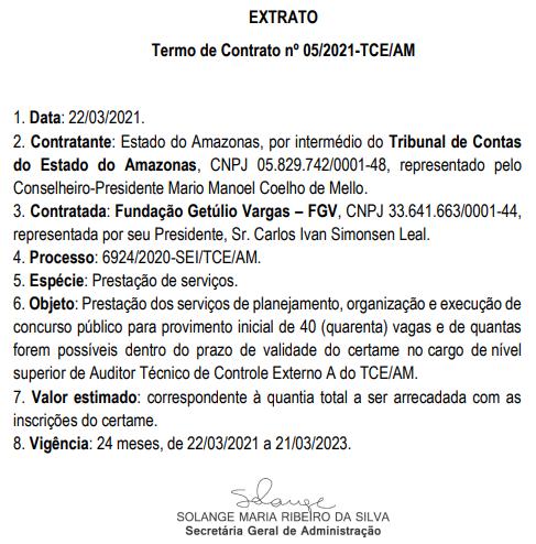 Extrato do contrato TCE AM