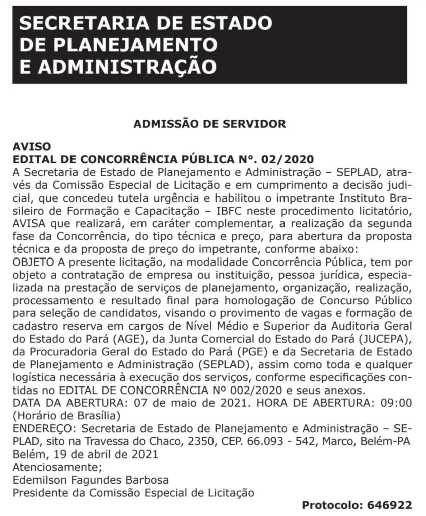 Concursos Pará 2021: 2° fase da banca