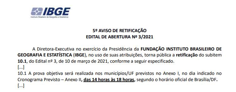 Novo horário das provas do concurso IBGE