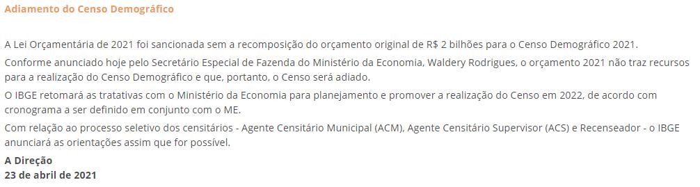 IBGE: Governo afirma que Censo não será realizado em 2021