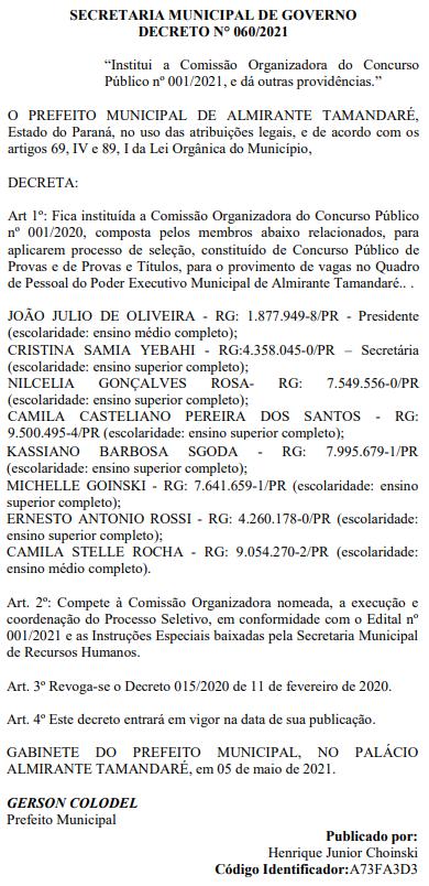 Concurso Câmara de Almirante Tamandaré PR: comissão FORMADA.