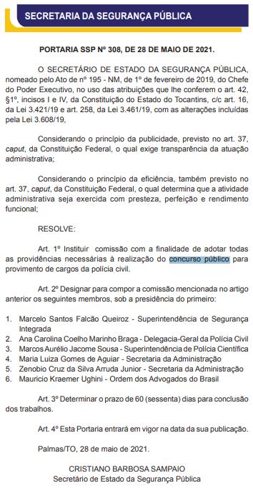 Lista de membros da comissão para o concurso PC TO