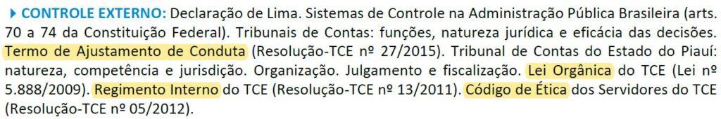 Conteúdo de Controle Externo para Assistente de Administração do TCE-PI.
