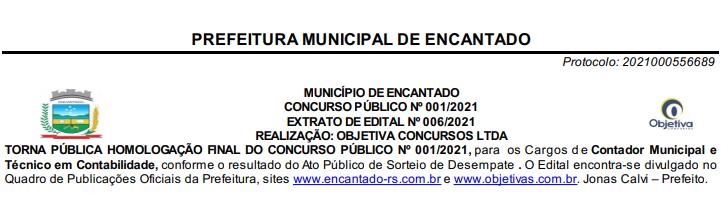 Homologação concurso Prefeitura de Encantado