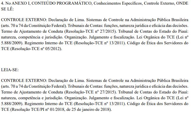 Retificação n  conteúdo programático de Controle Externo para a função de Auditor de Controle Externo do concurso TCE PI