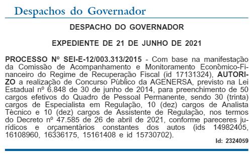 Autorização concurso AGENERSA RJ