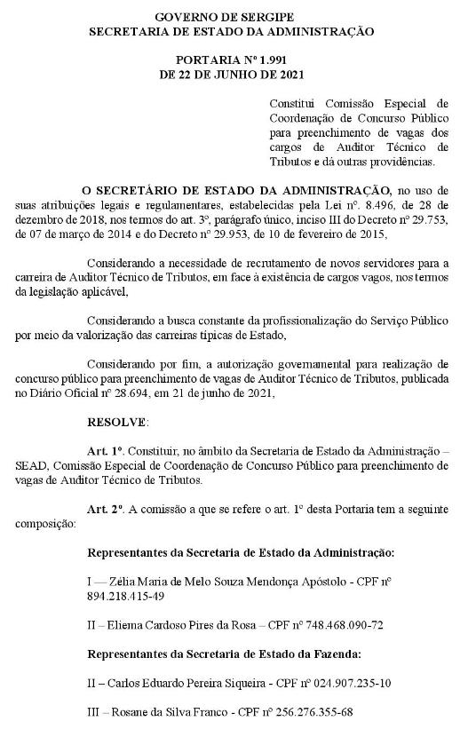 Comissão formada Sefaz SE