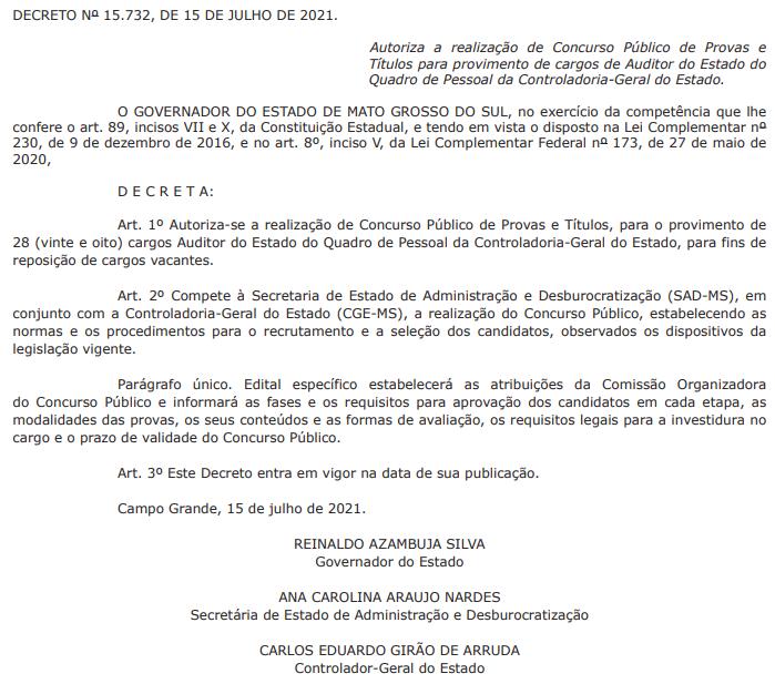Autorização - Concurso CGE MS