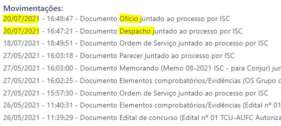 Movimentações do processo 013.326/2021-0
