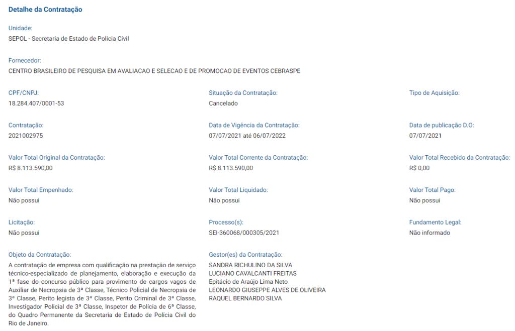 Cópia de documento que define o Cebraspe como responsável pelo concurso PC RJ para delegado.
