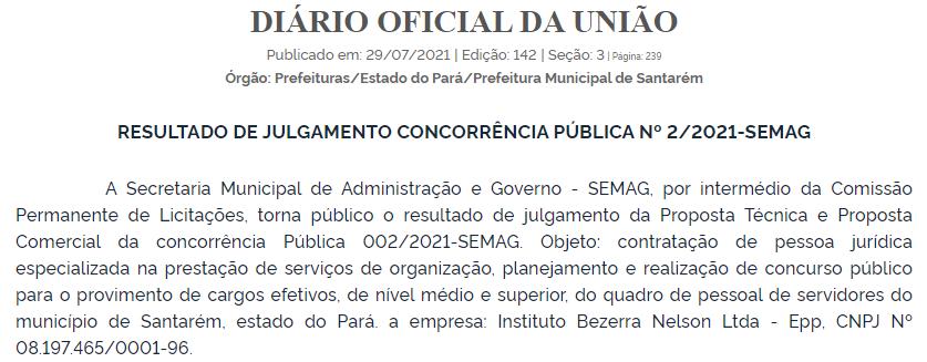 Banca definida - concurso Prefeitura de Santarém