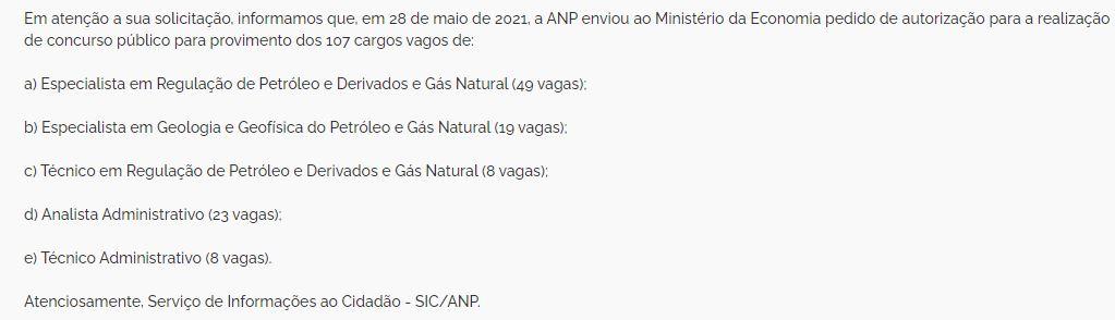 novo concurso ANP solicitado