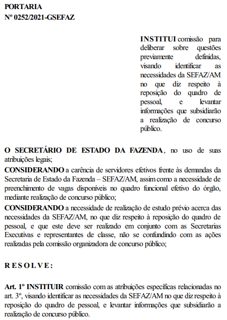 Portaria Nº 0252/2021-GSEFAZ, instituindo a Comissão do concurso Sefaz AM