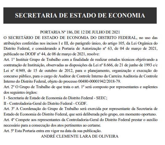 Comissão formada - Concurso CGDF