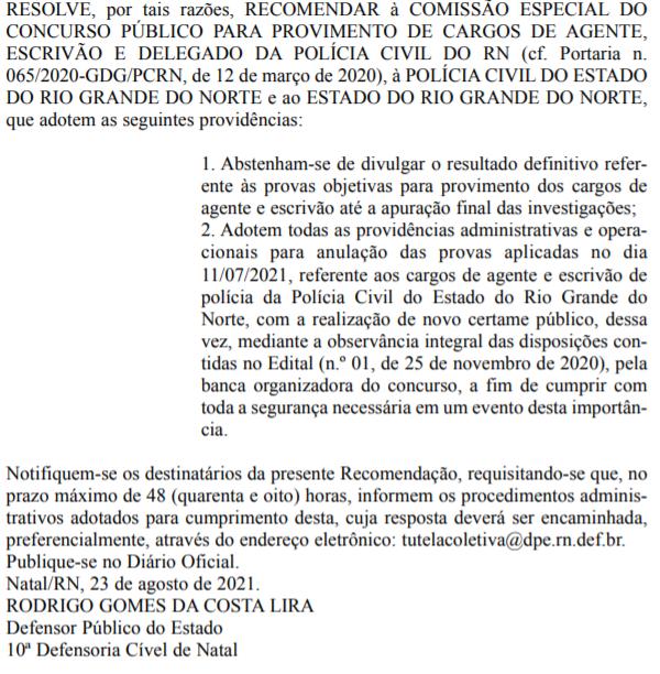 Recomendação da DPE RN para anulação das provas do Concurso PCRN
