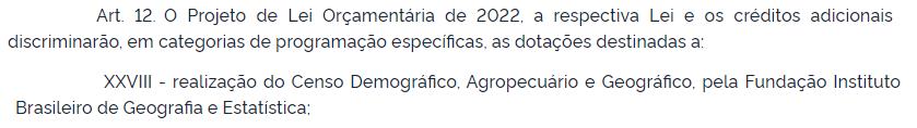 Trecho do PLOA 2022 que prevê realização de censo demográfico pelo IBGE.
